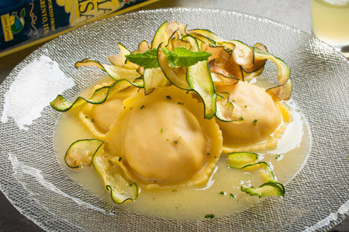 Lobster, Shrimp, & Scallop Ravioli with Zucchini, Limoncello Beurre Blanc and Dust