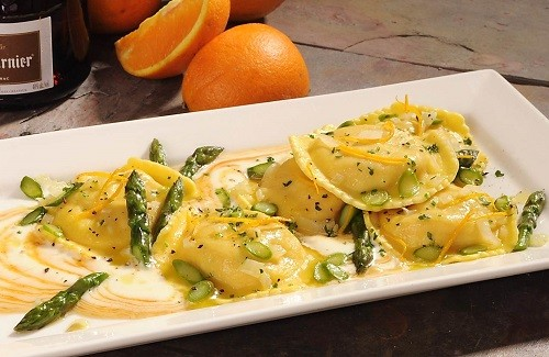 Lobster, Shrimp, & Scallop Ravioli with Asparagus, Orange Gremolata and Grand Marnier Glaze