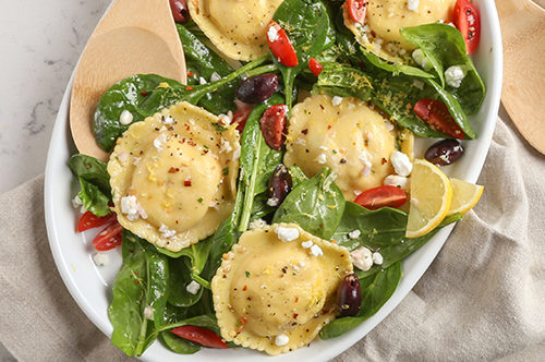 Greek Seafood Ravioli Salad