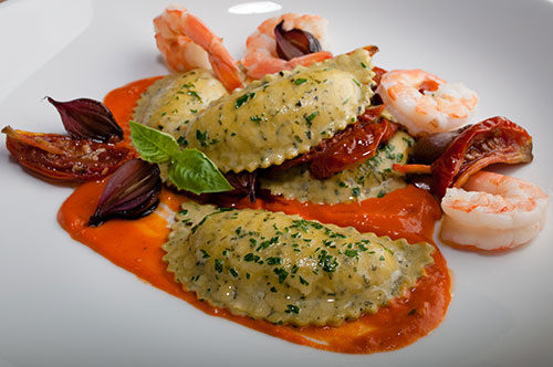 "Pepper Dough Mezzaluna with Shrimp, Balsamic Pearl Onions and ""Pomodori Secchi""Vellutata"