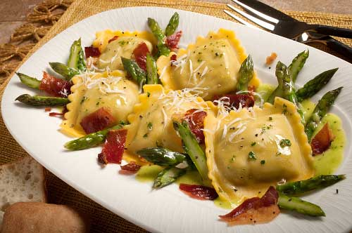 Porcini Mushroom Ravioli with Asparagus and Speck