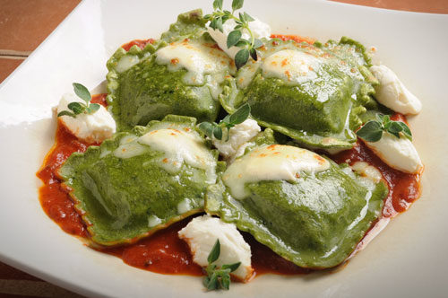 Spinach and Artichoke Ravioli with Tomato Sauce and Cheese