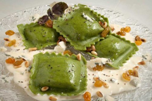 Spinach and Artichoke Ravioli with Gorgonzola and Drunken Golden Raisins
