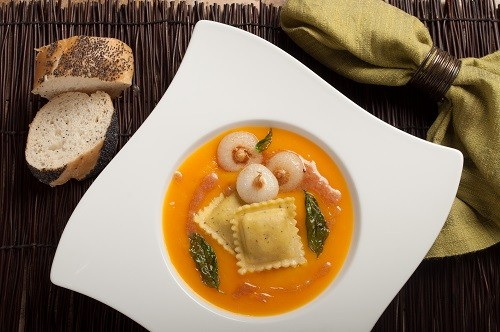 Butternut Squash Ravioli with Squash Soup and Beurre Noisette