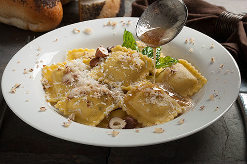 Butternut Squash Ravioli with Amaretto di Saronno Brown Butter, Castelmagno and Sage