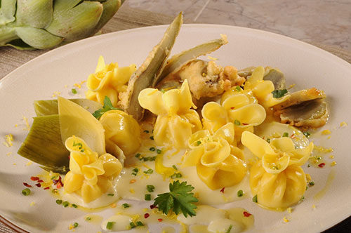 Cheese Sacchetti with Sun-choke Sauce and Crispy Flash Fried Artichokes
