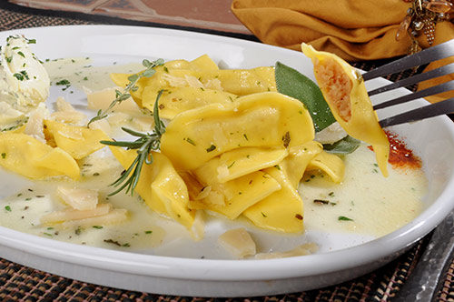 Casoncelli with Mediterranean Herb Whipped Butter and Piave Stravecchio