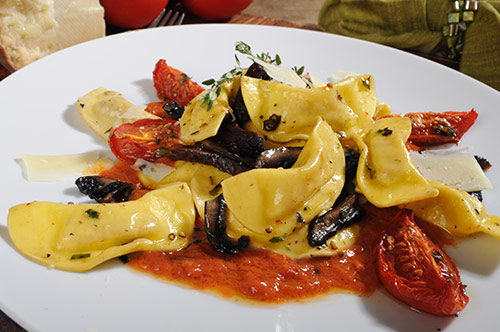 Casoncelli in Roasted Tomato Sauce with Grilled Portabella Mushrooms