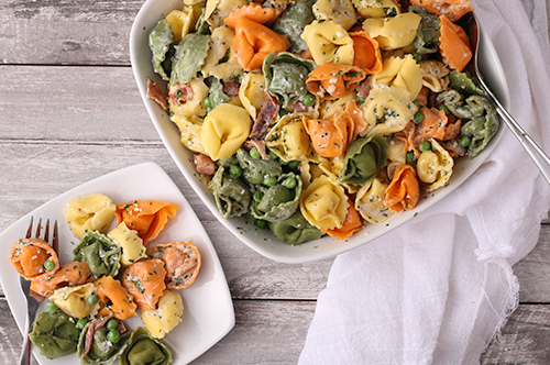Creamy Tortellini, Bacon Pasta Salad with Lemon Parmesan Dressing