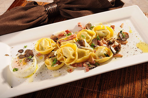 "Cheese, Onion and Garlic Tortelloni with Deconstructed ""Carbonara"" and Truffled Porcini"