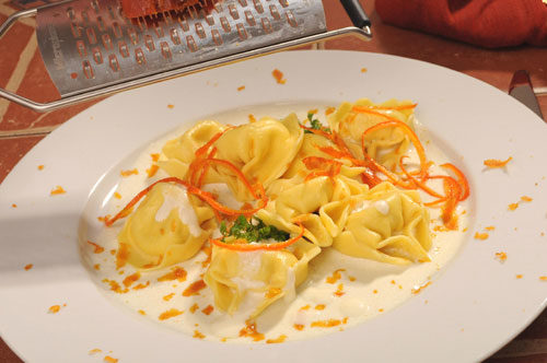 Spinach and Cheese Tortelloni with Mascarpone, Orange Gremolata and Bottarga di Muggine