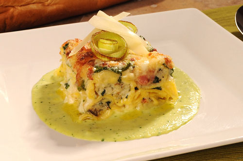 "Spinach and Cheese Tortelloni ""Pasticcio"" with Leek Crème"