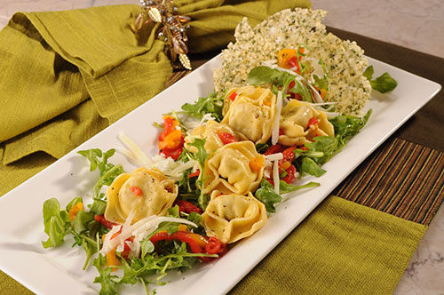 Chicken and Prosciutto Tortelloni with Arugula and Smoked Peppers