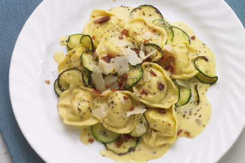 Chicken and Prosciutto Tortelloni Carbonara with Zucchini
