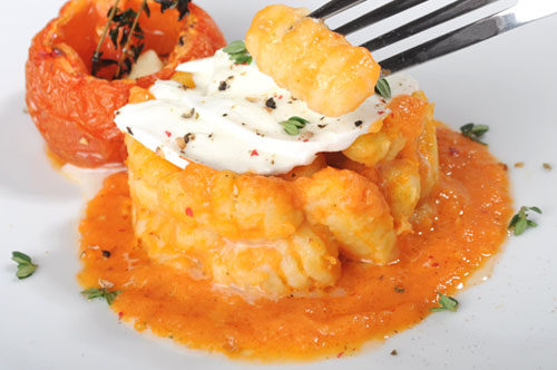 "Ricotta Gnocchi ""Sformatino"" with Roasted Tomato Sauce and Buffalo Mozzarella"