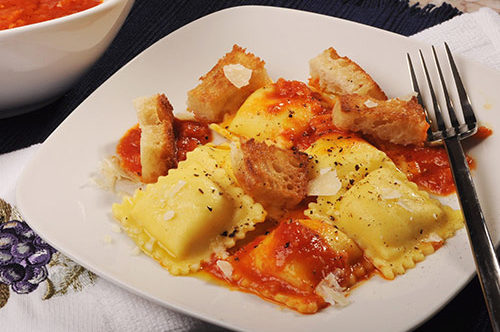 "Four Cheese Ravioli with ""Pappa al Pomodoro"""