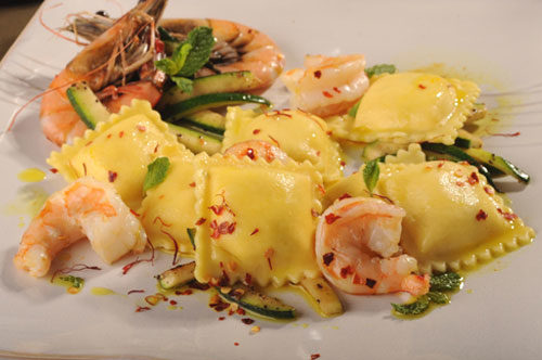 Four Cheese Ravioli Scampi with Zucchini