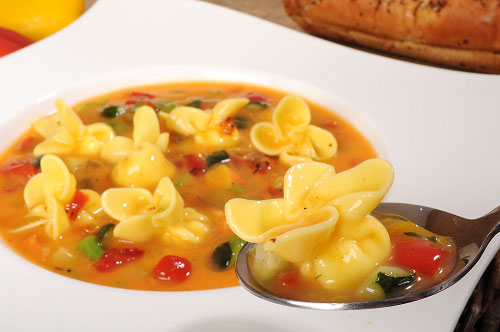 Grana Padano Sacchettini with Roasted Mediterranean Vegetable Soup