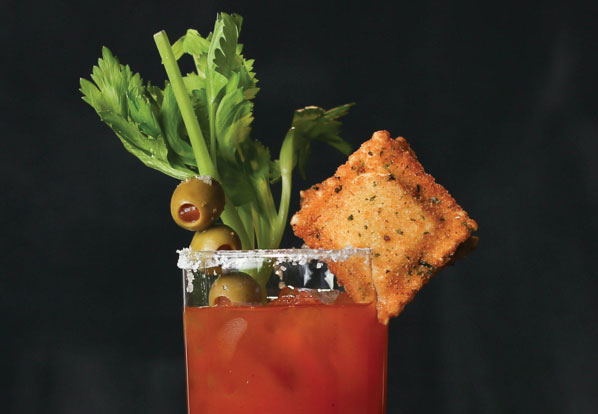 A Bloody Mary with a Toasted Ravioli Garnish